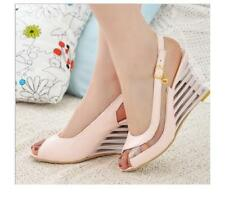 Womens Slingback Buckle Wedge High Heels Sandals Peep Toe Solid Shoes Sz 35-43