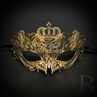 Gold Crown Metal Filigree Mardi Gras Venetian Masquerade Mask for Women M7174