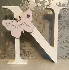 💖Personalised Letter Free Standing Wooden Gift Mums Grandmas Nans Mothers Day