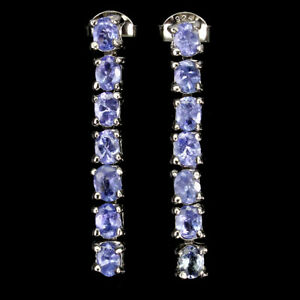 Unheated Oval Tanzanite 4x3mm 14K White Gold Plate 925 Sterling Silver Earrings