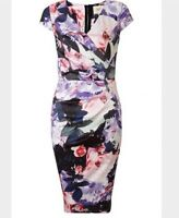 BNWT🌹Lipsy VIP🌹Size 8 Front Pleat Floral Satin Print Midi Bodycon Dress