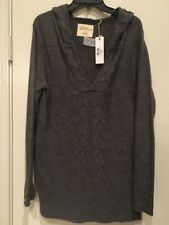 67e5517efc Natural Reflections Women Grey Hoodie V Neck Cable Sweater L New  39