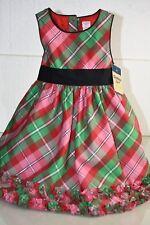 NEW OshKosh B'gosh Holiday Dress Red Pink Green  LUREX Plaid CHRISTMAS 2 T