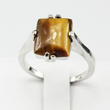 Tiger Eye Gemstone Fashion  Jewelry 925 Silver Men Women Ring Size 9