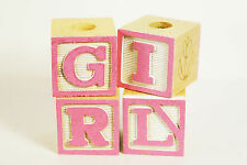 Decorative Baby Wood Blocks Baby Shower Decoration Baby Girl Pink Pattern Letter