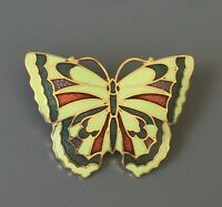 Vintage cloisonne Butterfly  Brooch in enamel on Metal