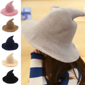 Womens Sheep Wool Witch Hat Modern Cosplay Costume Party Wide Brim Knitted Hat
