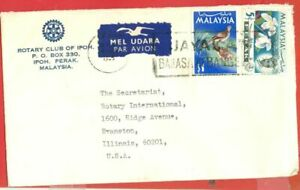 Malaysia $1 Bird + 5c Orchid used on IPOH Rotary Club cover to USA