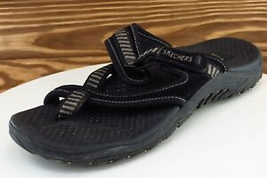 Skechers Sz 9 M Black Flip Flop Fabric Women Sandals