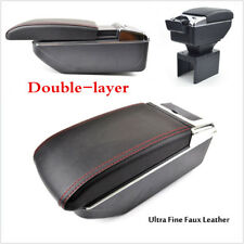 Black Pu Leather Double-Layer Armrest telescopic Cup Holder content box