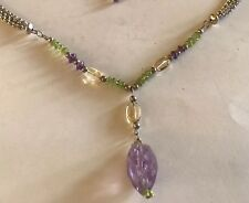 """Beautiful Sterling Silver 3 Strand Rolo Necklace W/ Turquoise Citrine Drop 17.5"""""""