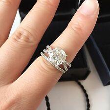 Forever Brilliant Moissanite Engagement Ring Set Round 14k White Gold 2.70 Ct