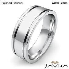 Flat Fit Plain Matte Ring Men Wedding Solid Band 7mm Platinum 16.7gm 11-11.75
