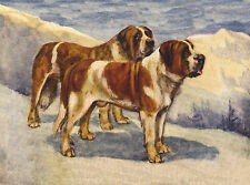 SAINT BERNARD TWO DOGS IN SNOW SCENE LOVELY DOG GREETINGS NOTE CARD