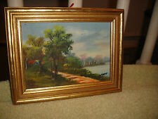 Miniature Framed Oil Painting On Board-Signed By The Artist Ford-Country Home