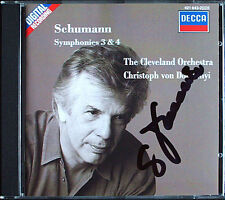 Christoph von DOHNANYI Signed SCHUMANN Symphony 3 4 Cleveland 1989 CD Sinfonien