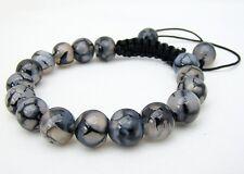 Men's Shamballa Natural GEMSTONE bracelet all DRAGON VEINS AGATE beads