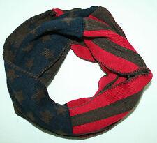 Rouge Bleu USA Tricot D'hiver écharpe tube étoiles Foulard strickloop