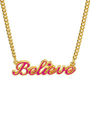 DISNEY COUTURE  Believe Necklace in Pink Enamel  and Gold Plated  Base Metal