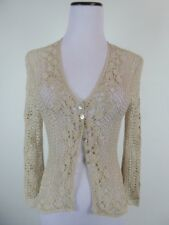 NEW KAREN MILLEN BEIGE HAND CROCHETED CARDIGAN SWEATER TOP 1 S VISCOSE