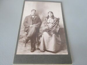 Antique  CABINET PHOTO  -   INDIAN  - MARK ARROWS & WIFE   #27