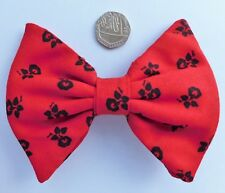 Large red clip on bow tie Floral design Morning Glory flower Ormond bow spring