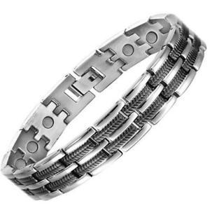 Silver & Black Titanium Magnetic Bracelet Arthritis Pain Relief + Resizing Tool