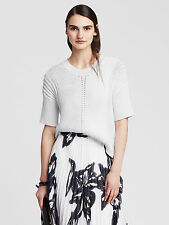 NWT Banana Republic Women's Mixed-Stitch Elbow-Sleeve Pullover Color White Sz L