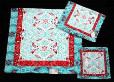 3 Boho Style Turquoise Red Border Scroll Velour Bath Hand Wash Cloth Towels NWT