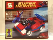 New MiniFigures & Car Super Heroes Set Spider Man Building Block Toy Gift