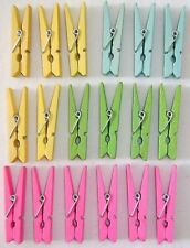 NEW 18 5cm COLOURED WOODEN CRAFT PEGS PINK YELLOW GREEN HB L