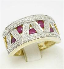 Natural Ruby & 38 Diamond 9ct 9K 375 Solid Gold Ring - Bravo Jewellery