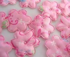 50 Pink Satin Princess Swirl Print Flower Applique/Baby/Floral/Trim/Sewing H455