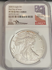 2020 S $1 Silver Eagle NGC PF70 Ultra Cameo FDOI signed by John M. Mercanti
