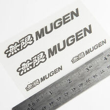 """Genuine Mugen Sticker Decal Silver 4.25"""" & 2"""" (4 PC) Made in Japan - US Seller"""