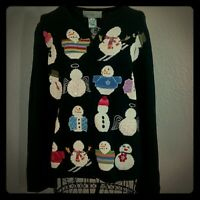 Vintage Susan Bristol Snowman Christmas Sweater Size Medium