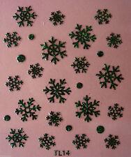 Bolas De Navidad Negro Brillo Copos De Nieve Arte en Uñas Pegatinas Calcomanías Traslados T14B