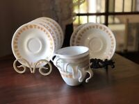 Vintage Corning Corelle Butterfly Gold Saucers set of 6 Cups and Saucers