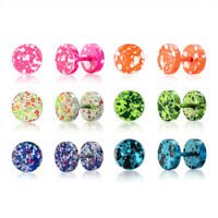 1 Pair Camouflage Barbell Men Women Stud Plug Earrings Stainless Steel Xmas Gift