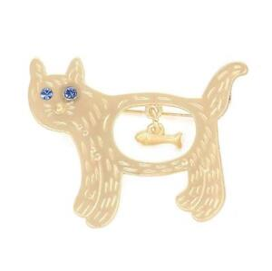 Gold Tone Cat with a dangly fish bone in its tummy Crystal Blue eyes Brooch