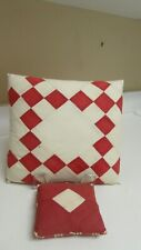 Pair of Artisan Patchwork Pillows Made From Old Quilts with New Linings