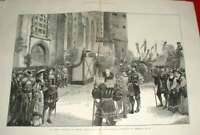 Old Antique Print Luther Celebration Germany Schloss Kirche Wittenberg 18 19th