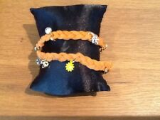 Juicy Couture New & Gen. Orange Suede Multi Charm Wrap Bracelet With Logos