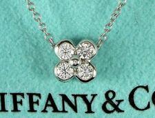 "$2,250 Tiffany & Co Platinum 4 Round Diamond Flower Pendant 16.5"" Chain Necklace"