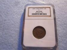 1849 Braided Hair Half Cent NGC Graded MS62 Rare Key Date 1/2C