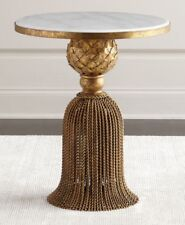 Neiman Marcus Kay Marble Tassel Side Table Italian Gold with White Marble NEW