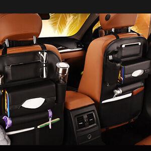 Black Leather Car Seat Back Bag Organizer Storage Cup Phone Holder Multi-Pocket