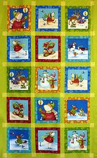 Christmas Fabric Quilting Panel 'Winter Parade' Polar Bears Snowmen Reindeer