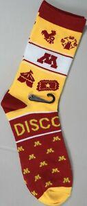 U of M Socks University Minnesota Gopher Sports Maroon Gold Adult Fits 6to10 New