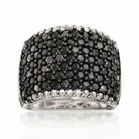 Ross-Simons Black Spinel & White Topaz Wide Band Ring in Sterling Silver